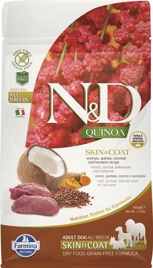 N&D QUINOA SKIN & COAT с еленско месо и киноа храна за кучета в зряла възраст от всички породи